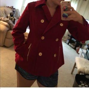 Red Michael Kors pea coat